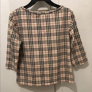 BURBERRY CHECK & PLAID SPOON NECK 3/4 SLEEVE TOP